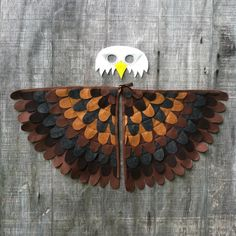 Simple eagle mask made with paper and a glue gun cub scouts bald eagle costume set eagle gift wings and mask eco friendly flap and fly group costumesdiy solutioingenieria Image collections