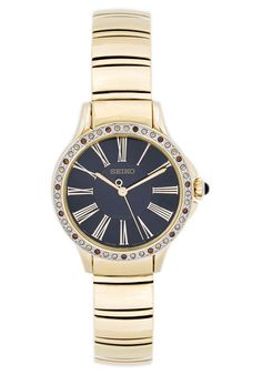 Seiko  Women's Gold-Tone Gold Plated Stainless Steel Black Dial
