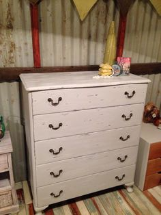 Shabby chic chest of drawers. More furniture available @ www.facebook.com/groups/VintageReclaimed