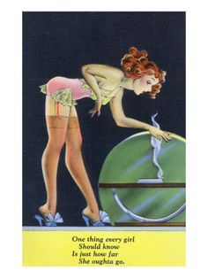 Pin-Up Girls - Girl in Nighty by a Globe; Every Girl Should Know How Far She Can Go Kunstdruk