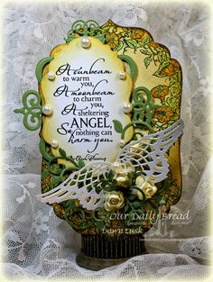 Stamps - Our Daily Bread Designs Sheltering Angel, Glory, ODBD Custom Angel Wings Die, ODBD Custom Fancy Foliage Die, ODBD Custom Vintage La...