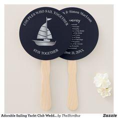 Adorable Sailing Yacht Club Wedding Programs Hand Fan