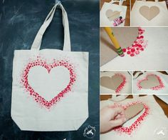 easy heart tote craft # DIY Gifts just because Easy DIY Heart Tote Bag Diy And Crafts Sewing, Easy Crafts, Easy Diy, Simple Diy, Super Simple, Decor Crafts, Saint Valentin Diy, Valentin Nap, Valentines Bricolage