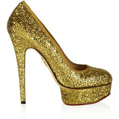 Charlotte Olympia Priscilla glitter-finished pumps ($598) ❤ liked on Polyvore featuring shoes, pumps, heels, shoes - heels, gold, gold heel pumps, slip on shoes, gold glitter pumps, gold pumps and high heel pumps