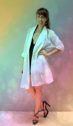 vintage white trench coat / folding travel by FiregypsyVintage, $38.82