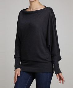 Look what I found on #zulily! Charcoal Dolman-Sleeve Off-Shoulder Tunic - Women #zulilyfinds