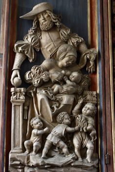 Bieselbach Altar,c. 1501; Left wing with the depiction of Mary Cleophas, her husband and their four children Alphaeus Barnabas, James the Less, Jude Thaddeus and Simon the Zealot