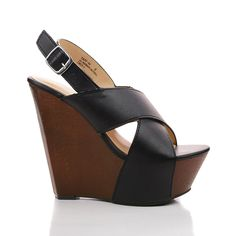 Strappy Slingback Faux Wooden Platform Wedge Heel Sandals -- Click on the image for additional details.