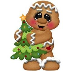 Silhouette Design Store: christmas gingerbread holding tree