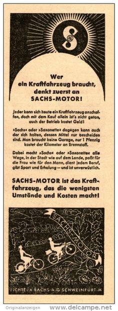 Original-Werbung/Inserat/ Anzeige 1939 - SACHS MOTOR / SAXONETTE ca. 70 x 190 mm