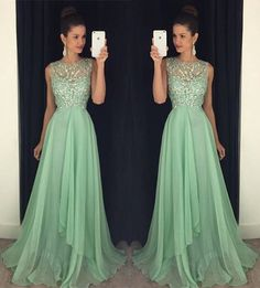 2017 Abendkleider Elegant Mint Green Chiffon Long Evening Dress, 2017 Vintage Mint Green Prom Dress, Luxury Beaded Formal Party Dress, A Line Jewel Neck Floor Length Pageant Gala Dress, Plus Size Cheap Sexy Sheer Prom Dresses Long Mint Prom Dresses, Open Back Prom Dresses, Prom Dresses 2016, Prom Dresses For Teens, Backless Prom Dresses, A Line Prom Dresses, Sexy Dresses, Dress Long, Evening Dresses
