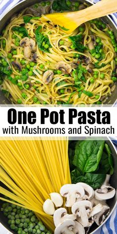 If you're looking for easy weeknight recipes, this garlic mushroom one pot pasta is perfect for you! It's vegan, super creamy, and ready in less than 25 minutes! Find more vegan one pot recipes at Vegan Dinner Recipes, Vegan Recipes Easy, Whole Food Recipes, Easy Vegan Meals, Simple Recipes, Breakfast Recipes, Dessert Recipes, Vegan Foods, Vegan Dishes