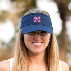 Personalized Womens Visor Cap Includes personalized monogram or name in  custom embroidery. Prefect for summer 0c7c350c77ec