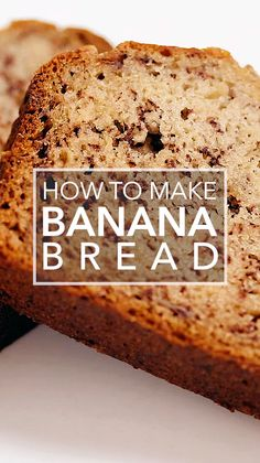 Bread Moist and delicious banana bread recipe. Easy to make, one bowl, and no need for a mixer!Moist and delicious banana bread recipe. Easy to make, one bowl, and no need for a mixer! Healthy Bread Recipes, Banana Bread Recipes, Easy Cake Recipes, Mango Bread Recipe Easy, Old Bananas Recipes, Food Network Banana Bread, Banana Recipes Videos, Desserts With Bananas, High Fiber Bread Recipe