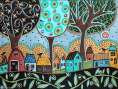 Overcast 16x12 inch Houses Birds Trees ORIGINAL CANVAS PAINTING Folk Art  KarlaG #FolkArtAbstractPrimitive