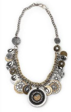 "Times Square - 23"" A bold blend of mixed textures and intricately designed gold and silver discs will put you right at the center of attention.  It's stunning as a single necklace or layered for a more dynamic look.  Mialisia  - http://carolyn.mialisia.com/"