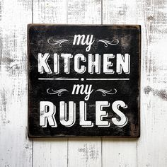 "Деревянный постер для кухни ""MY KITCHEN-MY RULES"" в магазине «Woodsigns» на Ламбада-маркете"