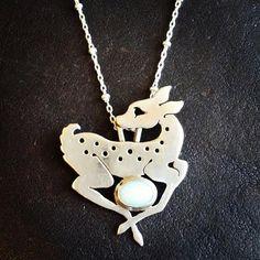 Silver fawn with opal necklace, Amanda Black, Black Rabbit Studio