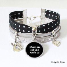 """Maman - bracelet cabochon """"maman est une artiste"""" - tissu noir pois blancs et suédine argenté étoiles - cadeau"""
