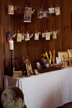 a great way to feature photos at your wedding    Photo by Revival Photography  As seen in Rustic Wedding Chic Book