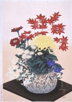 Fall Flower Arrangement Ōno Bakufū (Japan, 1888-1976) Japan, 20th century Prints; woodcuts Color woodblock print Image: 15 3/8 x 10 15/16 in. (39.1 x 27.8 cm); Paper: 16 1/4 x 11 3/8 in. (41.3 x 28.9 cm) Gift of Mr. and Mrs. Felix Juda (M.73.37.502) Japanese Art