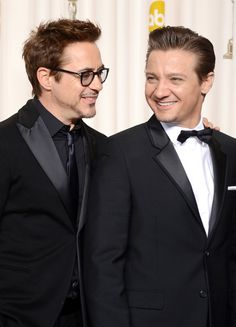 Jeremy Renner and Robert Downey Jr. - 85th Annual Academy Awards - Press Room