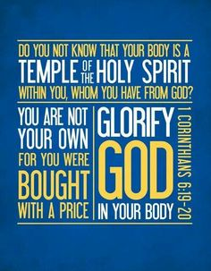 A temple is a holy place. And the Holy Spirit lives within us. So our bodies are temples.