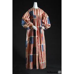 "aneacostumes: ""Flag costume, from Museum at FIT, NYC. ""Flag costumes were commonly worn to parades and pageants during the nineteenth century and were intended to promote national identity and. Retro Fashion, Vintage Fashion, Patriotic Dresses, Flag Dress, 1880s Fashion, Period Outfit, Online Collections, Historical Costume, Vintage Beauty"
