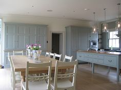English country kitchen cabinets in a pale blue colour. Teamed with white walls… Plain English Kitchen, English Country Kitchens, Open Plan Kitchen, New Kitchen, Kitchen Decor, Cosy Kitchen, Stylish Kitchen, Kitchen Ideas, Country Kitchen Cabinets