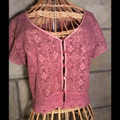 Free People lace button front top Beautiful Free People crop top in a lovely mauve lace. Free People Tops Crop Tops