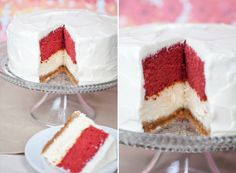 This Red Velvet Cheesecake is totally over the top! It consists of an original cheesecake with a buttery graham cracker crust, a moist layer of red velvet cake on top and it's all coated in a light whipped, cream cheese frosting! OMG!