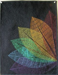 Art quilt wall hanging Rainbow Leaves by marytequilts on Etsy, $105.00 -- the pattern & texture, just wow