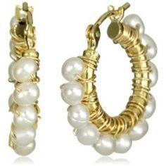 Amanda Sterett Kylie Gold with Pearl Hoop Earrings