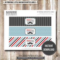 Free Mustache Party Printables | - Little Man Mustache Printable Water Bottle Labels - Moustache ...