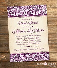 Elegant Bridal Shower Invitation, Wedding Shower Invitation, Damask, Purple, Customize Your Colors (PRINTABLE FILE) by InvitingDesignStudio on Etsy