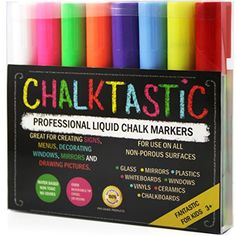 FANTASTIC Chalktastic CHALK MARKERS 8 Pack, Great for Menu Board Bistro Boards, Kids Art, Glass & Window Markers & Paint Marker Pens with Reversible 6mm Fine or Chisel Tip Bright Neon Colored Plus White.