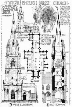 Typical English Parish Church - St. Andrews Heckington, Lincolnshire, drawn by Banister Fletcher