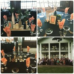 Lots of #centerpieces to setup but it looked #beautiful and our #bride loved it! #decor #navy #peach #love #detroitweddings #celebration #waldenwoods #weddingdaymanagement #yourethebride