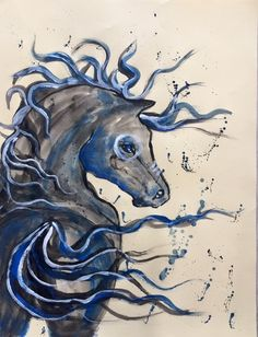 original painting on paper serie horses by Ligia Romano
