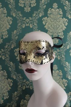 Distressed Hand Punched Gold Leather Coquette Mask by Mascherina