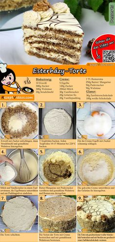 Esterházy-Torte The Hungarian Esterházy cake is a dream of walnuts and cream. The Esterházy-Torte Recipe Video is easy to find using the QR code 🙂 # Esterhazy Torte bake Hungarian Desserts, Hungarian Recipes, Hungarian Cake, Cupcakes, Cake Cookies, Esterhazy Torte, Torte Au Chocolat, Cookie Recipes, Dessert Recipes