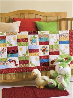 Cute as a Bug Baby Quilt Pattern Download from e-PatternsCentral.com -- Brightly hued scraps and colorful critter appliques make the perfect baby quilt.
