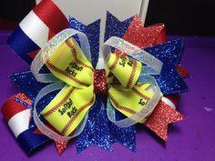 Softball hair bow on Etsy, $9.50