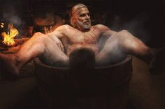 The Witcher 3 Cosplay Calendar features official Geralt promo model famous bathtub shot nipples