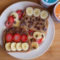 Protein Almond Butter Toast Topped with Strawberries & Bananas 2 pack (Cookie and Coffee Bean) (Almond Butter Lunch) Protein Cookies, Protein Snacks, Vegan Snacks, Vegetarian Breakfast, Breakfast Recipes, Vegetarian Recipes, Breakfast Wraps, Balanced Breakfast, Vegetarian Cake
