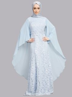 The perfect addition to any Muslimah outfit, shop Refka's stylish Muslim fashion Blue - Fully Lined - Crew neck - Muslim Evening Dress. Find more Muslim Evening Dress at Modanisa! Muslim Evening Dresses, Blue Evening Dresses, Abaya Designs, Hijab Style, Hijab Chic, Abaya Fashion, Modest Fashion, Modest Clothing, Moslem Fashion