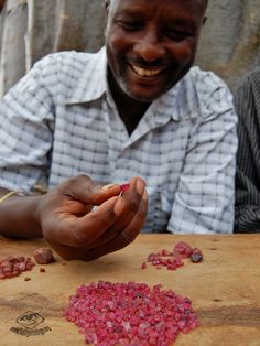 Mtakanini mine a parcel of good quality but small pinkish Winza rubies.