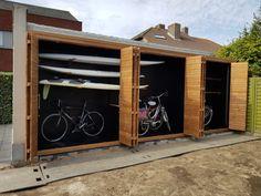 Outdoor Bike Storage, Backyard Storage Sheds, Garden Storage Shed, Backyard Sheds, Outdoor Sheds, Outdoor Landscaping, Bicycle Storage, Shed Design, House Design
