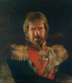 Chuck Norris by Steve Payne, creator of the Replaceface series, where Steve took digital copies of George Dawe's paintings of Russian generals and added celebrities faces to the portrait using Photoshop. Chuck Norris, Illustration Arte, Street Art, Bruce Willis, Celebrity Portraits, Celebrity Faces, Cultura Pop, Steve Jobs, Brad Pitt