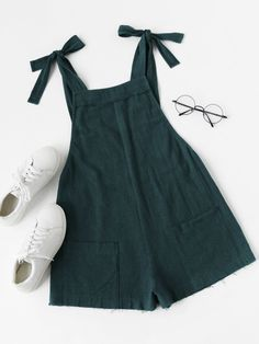Shop Self Tie Raw Hem Pinafore Romper online. SheIn offers Self Tie Raw Hem Pinafore Romper & more to fit your fashionable needs. Source by malderav Mode Outfits, Casual Outfits, Fashion Outfits, Fashion Trends, Fashion Ideas, Casual Dresses, Look Fashion, Kids Fashion, Womens Fashion